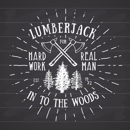 woodsman: Lumberjack vintage label with two axes and trees. Hand drawn textured grunge vintage label, retro badge or T-shirt typography design, hipster T-shirt print design. Hand drawn vector illustration.