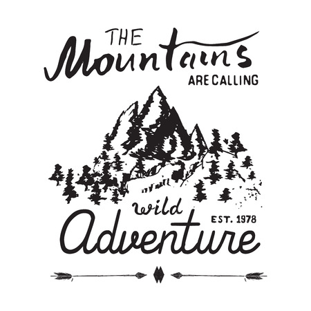 rocky mountain: Mountains handdrawn sketch emblem. outdoor camping and hiking activity, Extreme sports, outdoor adventure symbol, vector illustration isolated on white background.