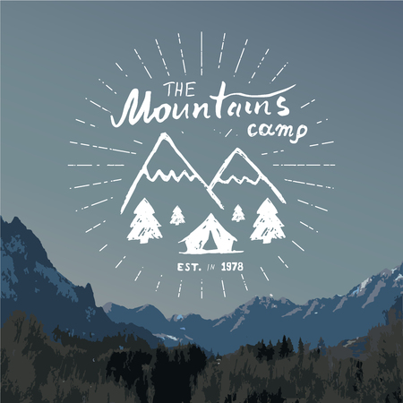 summit: Mountains handdrawn sketch emblem. outdoor camping and hiking activity, Extreme sports, outdoor adventure symbol, vector illustration on mountain landscape background.