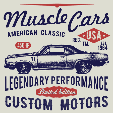 T-shirt typography design, retro car vector, printing graphics, typographic vector illustration, vintage car graphic design for label or t-shirt print, Badge, Applique. Иллюстрация