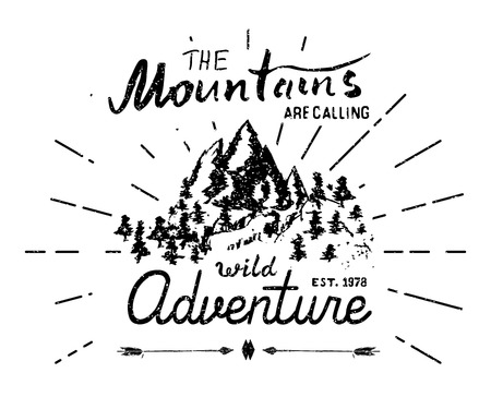 extreme sports: Mountains handdrawn sketch emblem. outdoor camping and hiking activity, Extreme sports, outdoor adventure symbol, vector illustration on grunge background. Illustration