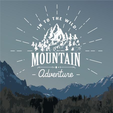 Bergen handgetekende schets embleem. outdoor kamperen en wandelen activiteit, Extreme sporten, outdoor avontuur symbool, vector illustratie op berglandschap achtergrond. Stock Illustratie