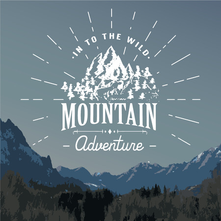 Mountains handdrawn sketch emblem. outdoor camping and hiking activity, Extreme sports, outdoor adventure symbol, vector illustration on mountain landscape background.