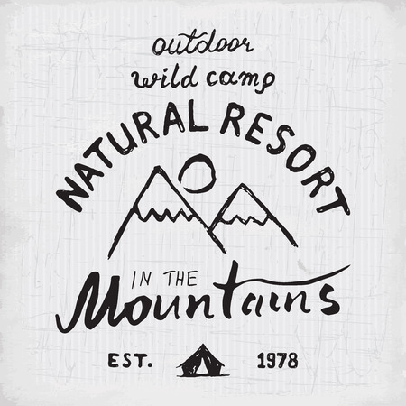 ridges: Mountains handdrawn sketch emblem. outdoor camping and hiking activity, Extreme sports, outdoor adventure symbol, vector illustration on grunge background. Illustration
