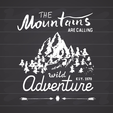 ridges: Mountains handdrawn sketch emblem. outdoor camping and hiking activity, Extreme sports, outdoor adventure symbol, vector illustration on chalkboard background. Illustration