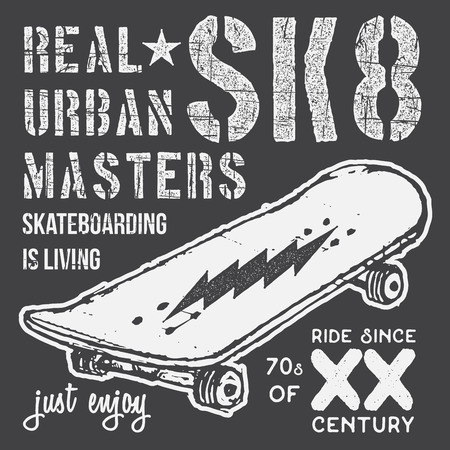 T-shirt typography design, skateboard printing graphics, typographic skateboarding vector illustration, Urban skaters graphic design for label or t-shirt print, Badge, Applique.