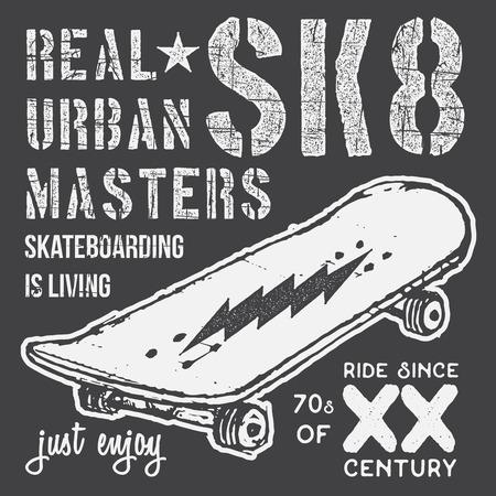 skaters: T-shirt typography design, skateboard printing graphics, typographic skateboarding vector illustration, Urban skaters graphic design for label or t-shirt print, Badge, Applique.