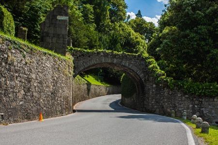 Bellagio city on Lake Como, Italy. Lombardy region. Italian cityscape, european road arhitecture.