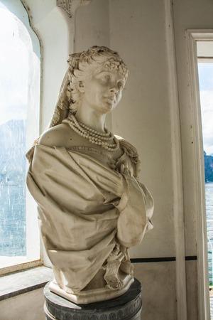 city park pavilion: Bellagio city on Lake Como, Italy. Lombardy region. Italian famous landmark, Villa Melzi Park. sculpture in Moorish Pavilion.