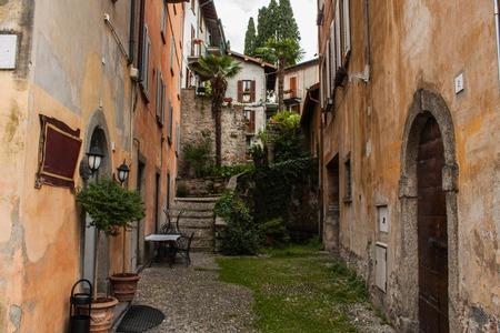 arhitecture: Bellagio city on Lake Como, Italy. Lombardy region. Italian street, european arhitecture