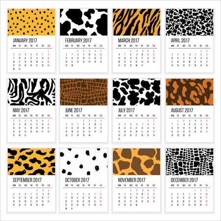 Calendar 2017 Year, Vector Cards With Hand Drawn Animal Skin Textures, Week Starts Monday Illustration
