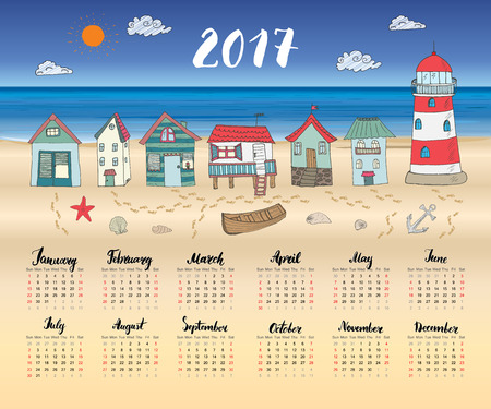 beach hut: Calendar 2017 Year One Sheet, Vector Hand Drawn Beach Huts and Month Lettering, Week Starts Sunday.