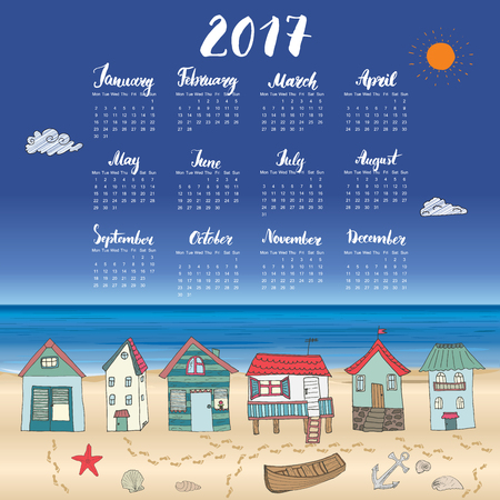 beach hut: Calendar 2017 Year One Sheet, Vector Hand Drawn Beach Huts and Month Lettering, Week Starts Monday Illustration