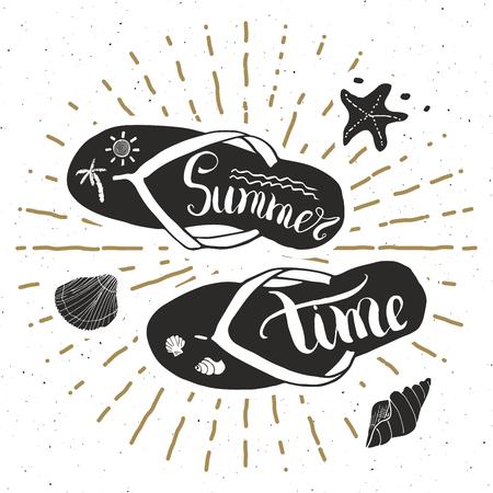 sunrays: Vintage Label Hand Drawn Flip Flops retro badge, Summer Vector.