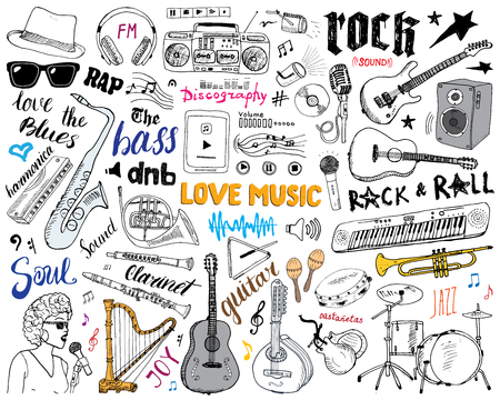 Music Instruments Set. Hand Drawn Sketch, Vector Illustration Isolated Stock Illustratie