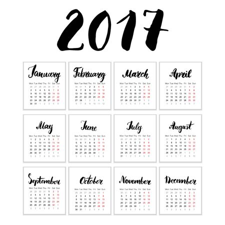 thursday: Calendar 2017 Year, Vector Cards With Hand Drawn Month Lettering, Week Starts Monday