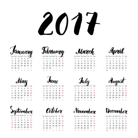 one sheet: Calendar 2017 Year One Sheet, Vector Hand Drawn Month Lettering, Week Starts Sunday Illustration