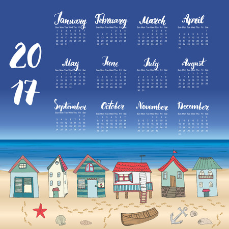 beach hut: Calendar 2017 Year One Sheet, Vector Hand Drawn Beach Huts and Month Lettering, Week Starts Sunday Illustration