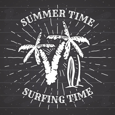 Hand drawn textured grunge vintage label, retro badge or T-shirt typography design with Palm tree and surfboards vector illustration. on chalkboard.