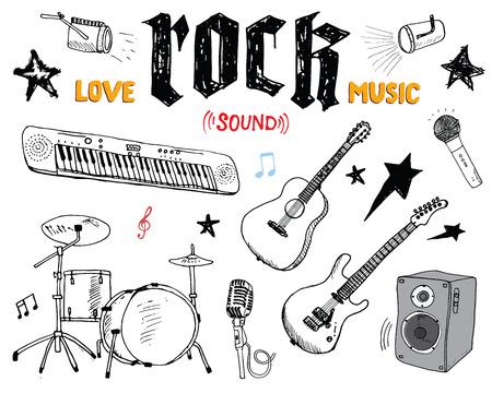 Music Instruments Set. Hand Drawn Sketch, Vector Illustration Isolated Ilustração