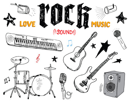 Music Instruments Set. Hand Drawn Sketch, Vector Illustration Isolated Vettoriali
