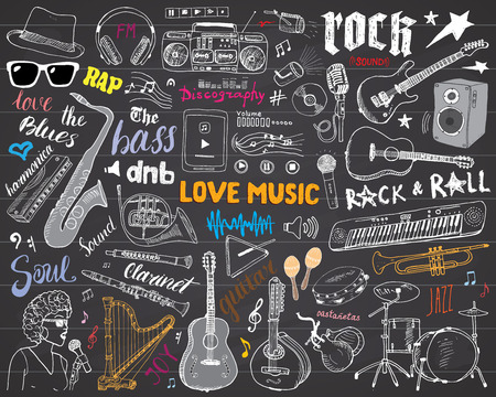 Music Instruments Set. Hand Drawn Sketch, Vector Illustration On Chalkboard