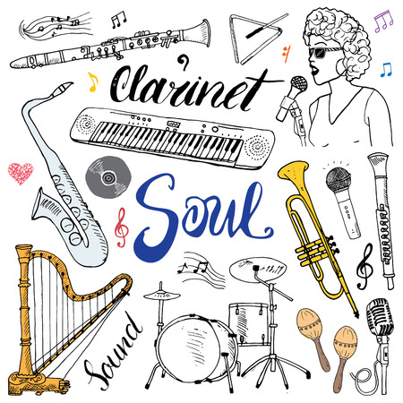 Music Instruments Set. Hand Drawn Sketch, Vector Illustration Isolated Ilustracja