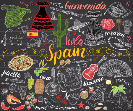 Spain hand drawn sketch set vector illustration chalkboard. Stock Illustratie