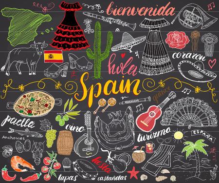 Spanje hand getekende schets set vector illustratie krijtbord.