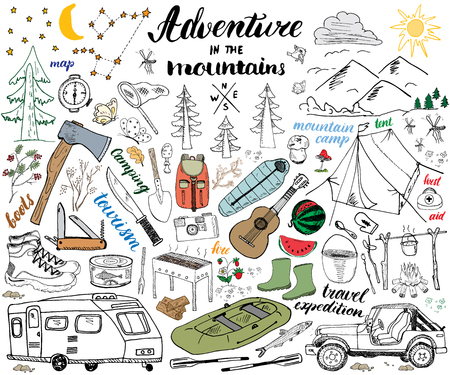 alps: Camping, Hiking Hand Drawn sketch set vector illustration