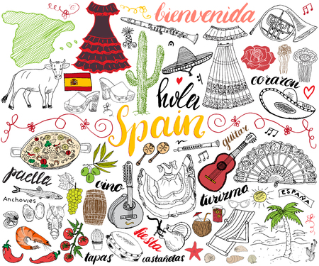 Spain hand drawn sketch set vector illustration. Stock Illustratie