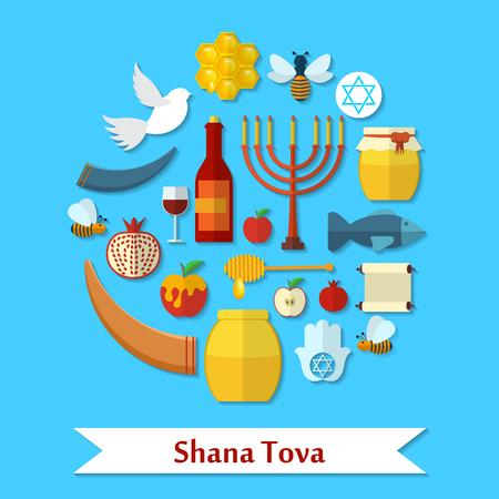 Rosh Hashanah, Shana Tova flat icons set. Illustration