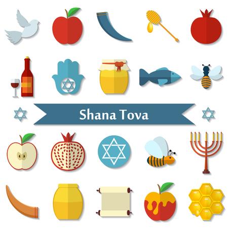 rosh: Rosh Hashanah, Shana Tova flat icons set. Illustration