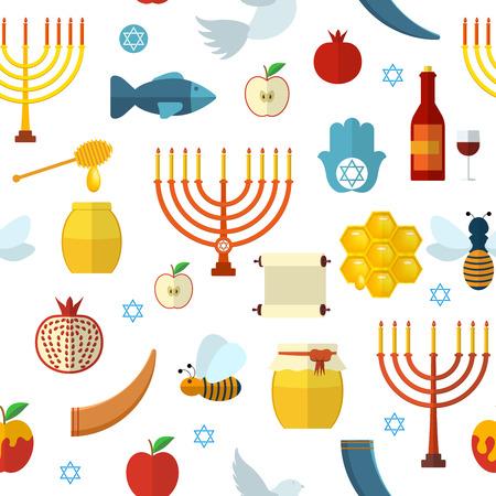rosh: Rosh Hashanah, Shana Tova seamless pattern  illustration