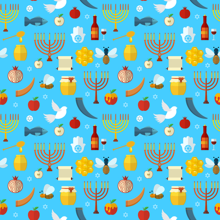 shana tova: Rosh Hashanah, Shana Tova seamless pattern illustration Illustration