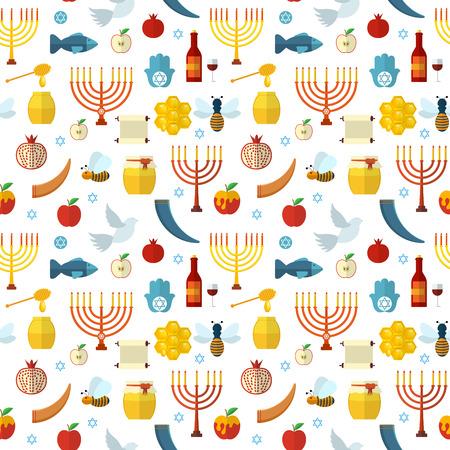 shana: Rosh Hashanah, Shana Tova seamless pattern illustration Illustration