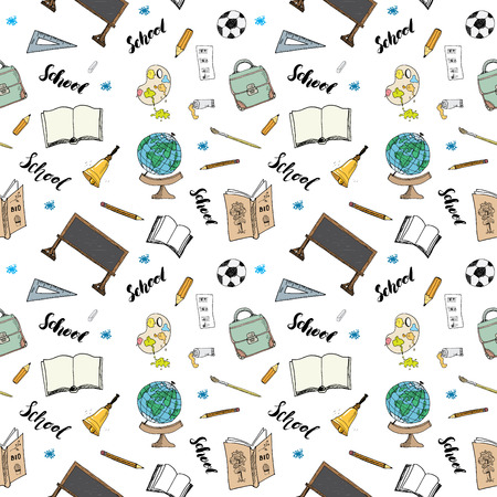 high school sports: School seamless pattern  Doodles, Illustration.