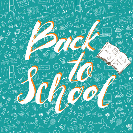 Back to School lettering quote, illustration