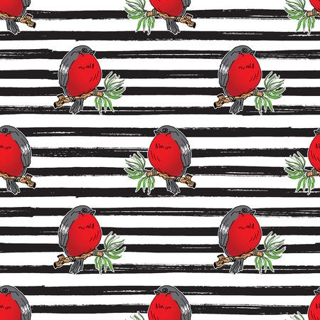 bullfinch, robin bird hand drawn sketch, striped Seamless Pattern. Vector Illustration