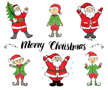 elfs: Merry Chistmas lettering. Hand drawn vector illustration with elfs