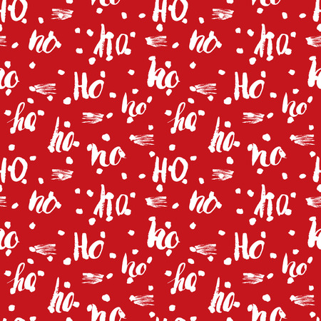 ho: New Year and Cristmas seamless pattern, with Ho Ho Ho hand drawn letters, retro, vintage Seamless Pattern. Background Vector Illustration