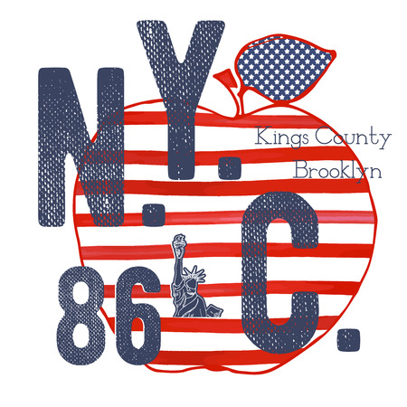 T-shirt typography design, NYC printing graphics, typographic vector illustration, New York graphic design for label or t-shirt print, Badge, Applique. Illustration