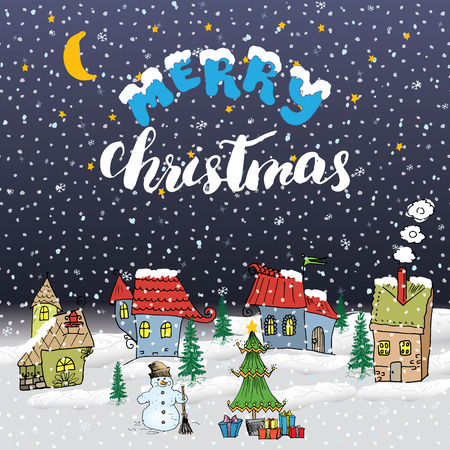 snow landscape: Merry Christmas Hand drawn doodle with small houses, snowman and christmas tree with gift boxes. Christmas greeting card or invitation design template. Vector illustration.