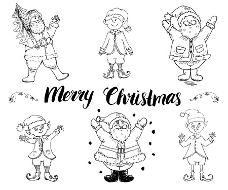 elfs: Santa Claus and elfs, gnomes Hand drawn set. Merry Christmas lettering. vector illustration isolated on white