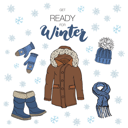 colection: Winter season set doodle elements. Hand drawn sketch colection with boots, warm clothes, socks, gloves, coat and hat. Lettering winter.