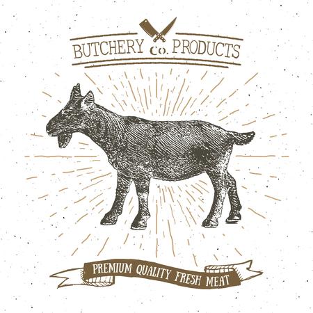 Butcher Shop vintage emblem goat meat products, butchery Logo template retro style. Vintage Design for Logotype, Label, Badge and brand design. vector illustration. Illustration