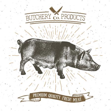 肉屋の店ヴィンテージ エンブレム豚肉肉製品、肉屋のロゴのテンプレートのレトロなスタイル。ビンテージ デザイン ロゴ、ラベル、バッジおよびブランドのデザイン。ベクトル図