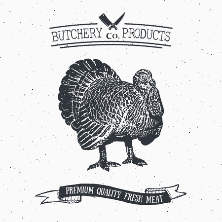 chuck: Butcher Shop vintage emblem turkey meat products, butchery Logo template retro style. Vintage Design for Logotype, Label, Badge and brand design. vector illustration