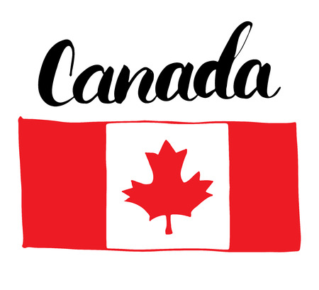 canadian flag: Canada Hand drawn flag, with Maple leaf and calligraphy lettering vector illustration isolated on white background Illustration