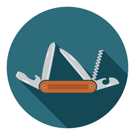 Multifunctional pocket knife icon. Flat design of hiking and camping equipment tool, vector illustration with long shadow.